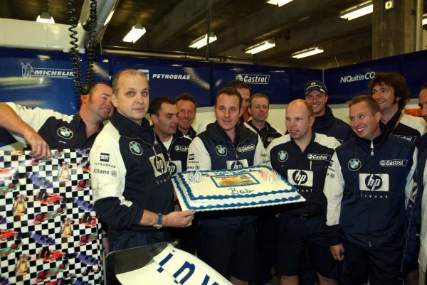 A 50th birthday celebration in the Williams garage.Formula One World Championship, Rd15, United States Grand Prix, Race Day, Indianapolis, USA, 28 September 2003.DIGITAL IMAGE