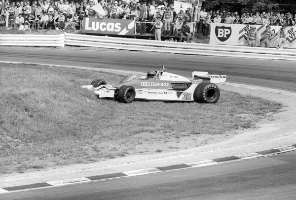 Brett Lunger (USA) Liggett Group McLaren M26, recovers from a spin at Paddock Hill Bend en route to finishing in eighth position.British Grand Prix, Rd 10, Brands Hatch, England, 16 July 1978.