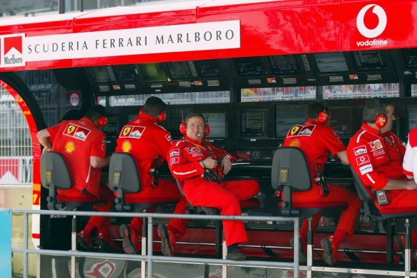 Jean Todt (FRA) Ferrari General Manager on the pit wall.Formula One World Championship, Rd5, Spanish Grand Prix, Barcelona, Spain, 2 May 2003.DIGITAL IMAGE