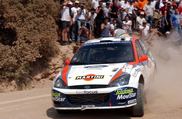 Third place Carlos Sainz (ESP) Ford Focus RS WRC on stage 14.Acropolis Rally, Rd7, Greece. Day Three. 16 June 2002.DIGITAL IMAGE