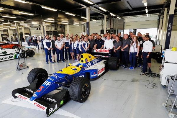 Williams 40 Event Silverstone, Northants, UK Friday 2 June 2017. A group photo next to the Williams FW14B Renault.  World Copyright: Sam Bloxham/LAT Images ref: Digital Image _56I0464