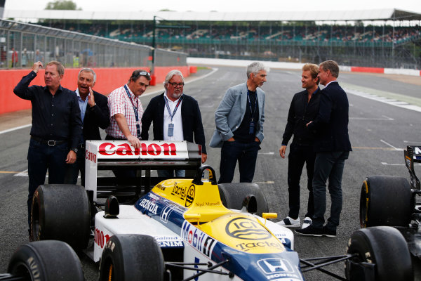 Williams 40 Event Silverstone, Northants, UK Friday 2 June 2017. L-R: Martin Brundle, Riccardo Patrese, Nigel Mansell, Keke Rosberg, Damon Hill, Nico Rosberg and David Coulthard. World Copyright: Joe Portlock/LAT Images ref: Digital Image _L5R0294