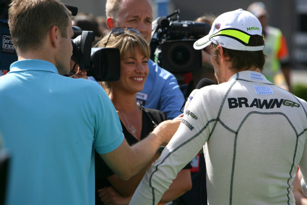 Circuit de Catalunya, Barcelona, Spain10th May 2009Jenson Button, Brawn GP BGP001 Mercedes, 1st position, is interviewed. Portrait. Media. World Copyright: Charles Coates/LAT Photographicref: Digital Image ZK5Y1631