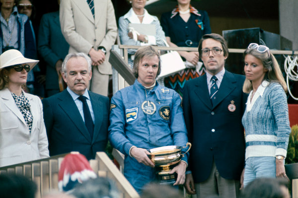 Monte Carlo, Monaco. 23 - 26 May 1974.Ronnie Peterson (Lotus 72E-Ford), 1st position, on the podium with his wife Barbro, HSH Prince Rainier and Princess Grace, portrait. World Copyright: LAT Photographic.Ref: 74MON14.