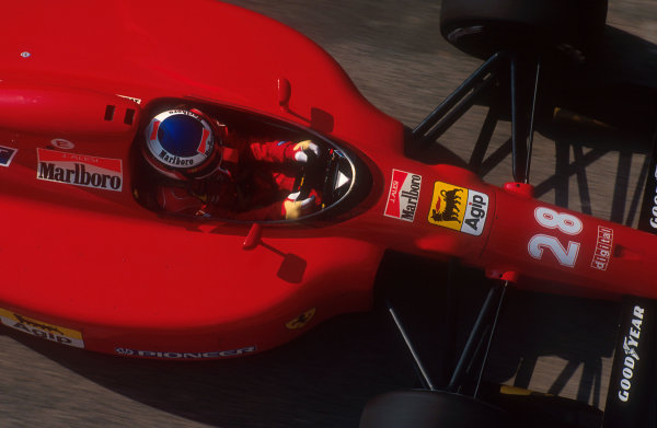 1991 San Marino Grand Prix.Imola, Italy.26-28 April 1991.Jean Alesi (Ferrari 642). He exited the race when he spun off the track while challenging Modena on lap 3.Ref-91 SM 04.World Copyright - LAT Photographic