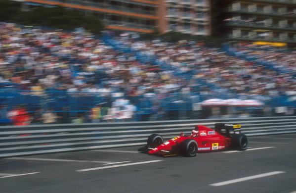 1991 Monaco Grand Prix.Monte Carlo, Monaco.26-28 April 1991.Jean Alesi (Ferrari 642) 3rd position. Ref-91 MON 24.World Copyright - LAT Photographic