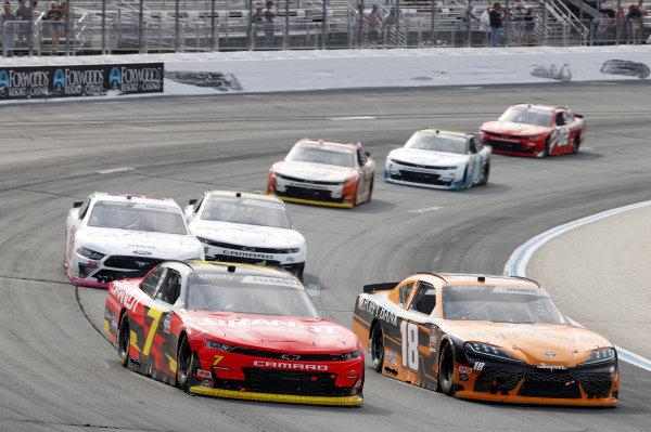 #7: Justin Allgaier, JR Motorsports, Chevrolet Camaro BRANDT, #18: Daniel Hemric, Joe Gibbs Racing, Toyota Supra Poppy Bank