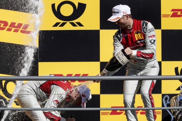 Podium: Race winner René Rast, Audi Sport Team Rosberg and second place Robin Frijns, Audi Sport Team Abt Sportsline.
