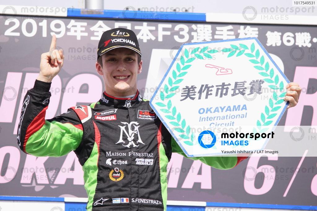 Round 6 podium. Winner Sacha Fenestraz, B-Max Racing with Motopark Dallara F314 Volkswagen. Photo by Masahide Kamio