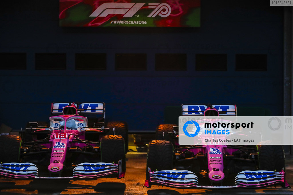 The cars of Lance Stroll, Racing Point RP20, and Sergio Perez, Racing Point RP20, in Parc Ferme after Qualifying