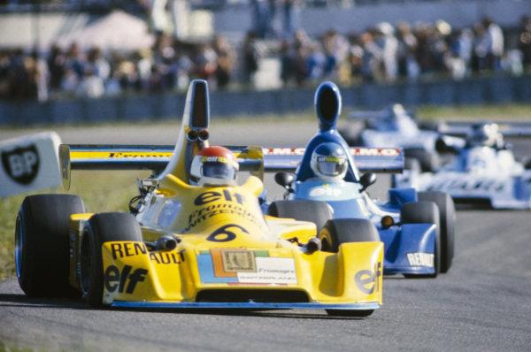 Michel Leclère, Elf 2J Renault/Gordini, leads Patrick Tambay, Martini Mk19 Renault/Gordini.