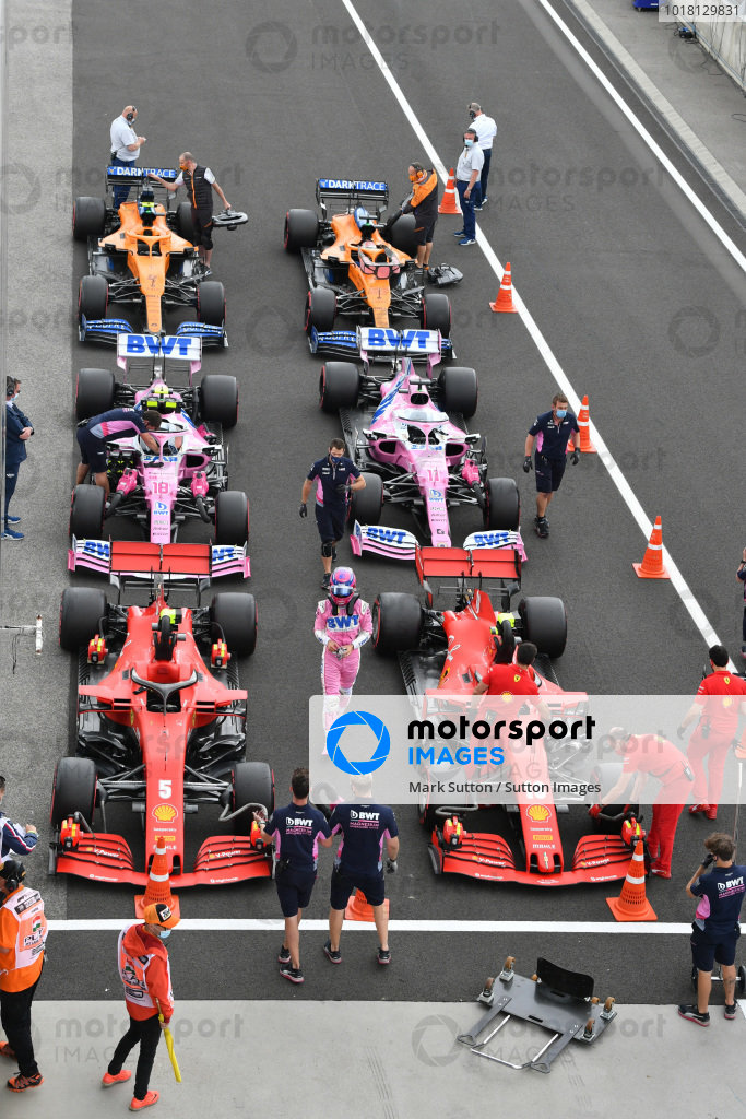 Lance Stroll, Racing Point, celebrates in Parc Ferme after Qualifying in third position