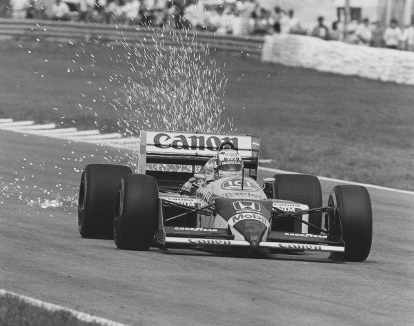 1987 Spanish Grand Prix.Jerez, Spain.25-27 September 1987.Nigel Mansell (Williams FW11B Honda) 1st position.Ref-ARTT87.A Race Through Time exhibition number 87.World Copyright - LAT Photographic