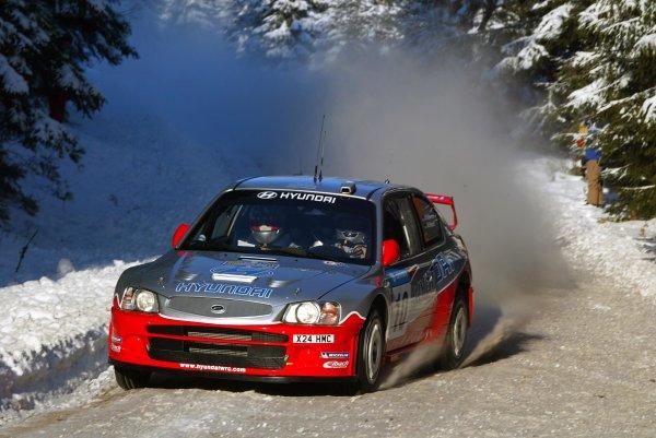 2003 FIA World Rally Championship. Karlstad, Sweden. Rd2.6-9 February 2003.Armin Schwarz/Manfred Hiemer (Hyundai Accent WRC). World Copyright: McKlein/LAT Photographic