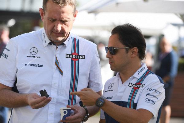 Steve Nielson (GBR) Williams F1 Sporting Manager and Felipe Massa (BRA) Williams at Formula One World Championship, Rd1, Australian Grand Prix, Practice, Albert Park, Melbourne, Australia, Friday 24 March 2017.