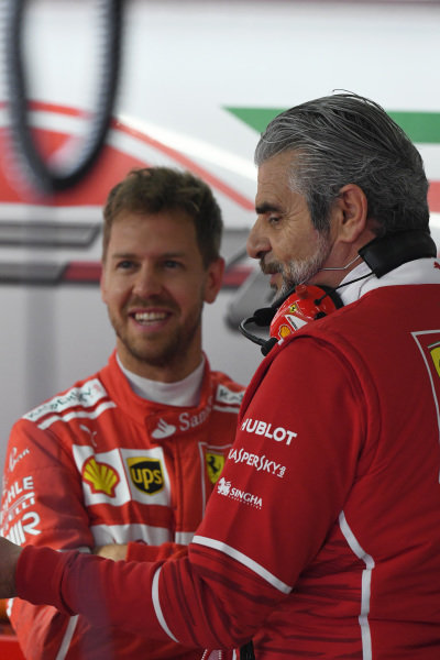 Sebastian Vettel (GER) Ferrari and Maurizio Arrivabene (ITA) Ferrari Team Principal at Formula One World Championship, Rd2, Chinese Grand Prix, Practice, Shanghai, China, Friday 7 April 2017.