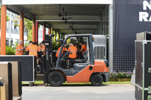 A forklift in the paddock