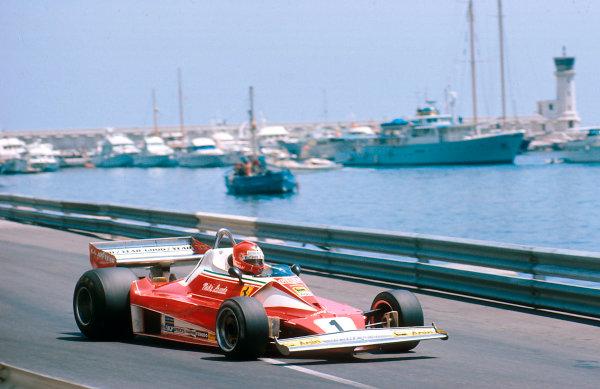 1976 Monaco Grand Prix.Monte Carlo, Monaco.28-30 May 1976.Niki Lauda (Ferrari 312T2) 1st position.Ref-76 MON 02.World Copyright - LAT Photographic