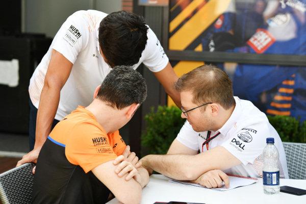 Carlos Sainz, McLaren with Andreas Seidl, Team Principal, McLaren