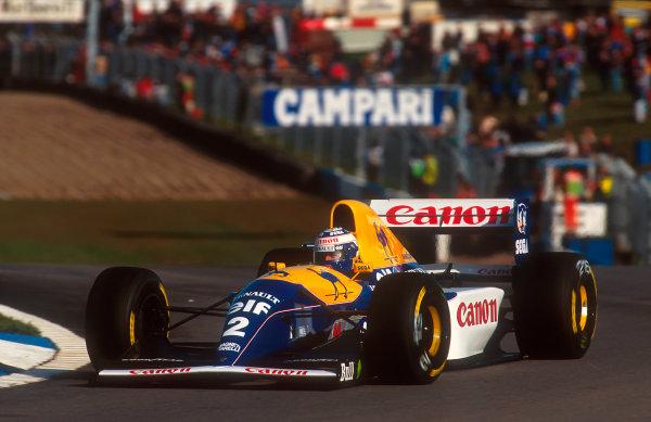 1993 European Grand Prix. Donington Park, England. 9-11 April 1993. Alain Prost (Williams FW15C Renault) 3rd position at Coppice. Ref-93 EUR 23. World Copyright - LAT Photographic