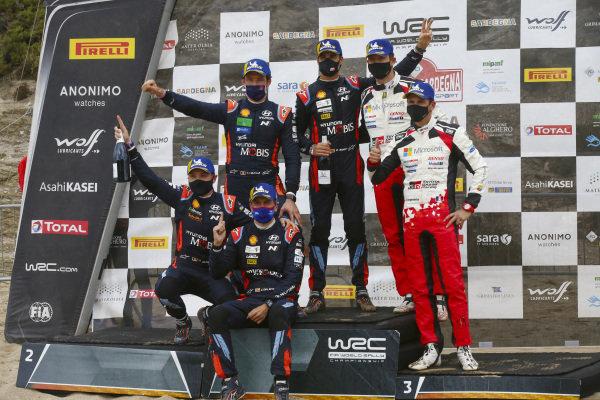 Dani Sordo (ESP), Carlos del Barrio (ESP), Thierry Neuville (BEL) and Nicolas Gilsoul (BEL), Hyundai World Rally Team, Hyundai i20 Coupe WRC 2020, Sébastien Ogier (FRA), Julien Ingrassia (FRA), Toyota Gazoo Racing WRT, Toyota Yaris WRC 2020