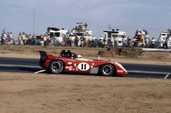 1970 Can-Am Challenge Cup.CanAm race. Riverside, California, United States (USA). 1 November 1970.Lothar Motschenbacher (McLaren M12-Chevrolet), 5th position.World Copyright: LAT PhotographicRef: 35mm transparency 70CANAM25