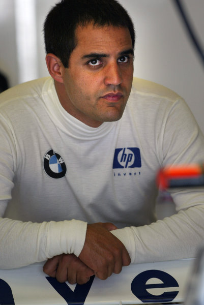 2004 United States Grand Prix - Friday Practice,Indianapolis, USA. 18th June 2004 Juan Pablo Montoya, BMW Williams FW26, portrait.World Copyright: Steve Etherington/LAT Photographic ref: Digital Image Only