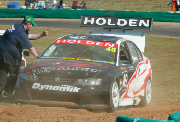2003 Australian V8 SupercarsOran Park, Sydney, Australia. 17th August 2003.Holden driver Jason Richards rolled during practice for the 300km race at Sydneys Oran Park. World Copyright: Mark Horsburgh/LAT Photographicref: Digital Image Only
