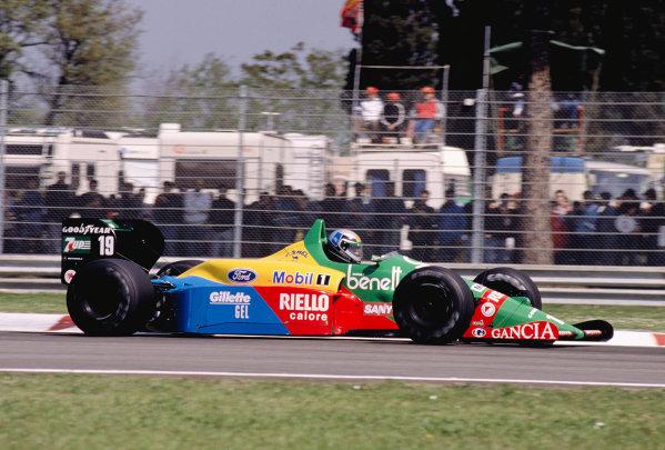 1989 San Marino Grand Prix.Imola, Italy.21-23 April 1989.Alessandro Nannini (Benetton B188 Ford) 3rd position.Ref-89 SM 18.World Copyright - LAT Photographic