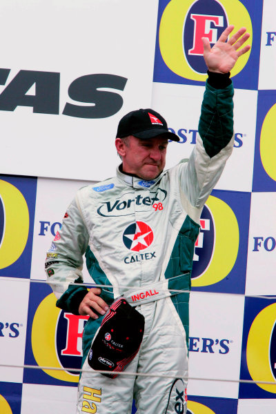 2005 Australian V8 SupercarsAlbert Park, Melbourne, Australia. 4th - 6th March.Russell Ingall celebrates on the podium after race 3. Portrait.World Copyright: Mark Horsburgh/LAT Photographicref: Digital Image Only