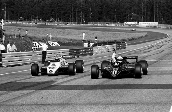 Elio de Angelis (ITA) Lotus 91 (Right) punches the air in delight as he wins his first Grand Prix and the 150th for the Cosworth DFV engine. Keke Rosberg (FIN) Williams FW08 was second by only five hundredths of a second in one of the closest finishes in F1 history. Austrian Grand Prix, Osterreichring, 15 August 1982.