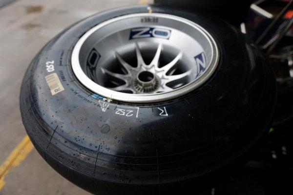 Interlagos, Sao Paulo, Brazil. Friday 22nd November 2013.  Unmarked Pirelli tyres. World Copyright: Andy Hone/LAT Photographic. ref: Digital Image _ONZ0312
