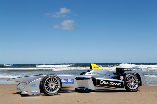 FIA Formula E Test Day. Formula E Car on the beach. Punta Del Este, Uruguay, South America. Formula E Third Race Event, 11th - 14th December 2014. Sunday 14 December 2014.  Photo: Adam Warner/LAT/FE ref: Digital Image _L5R5065