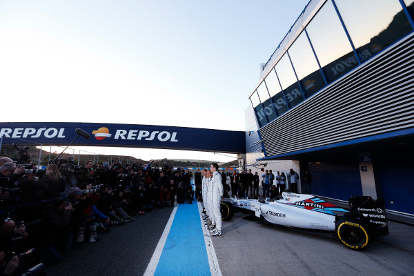 2015 F1 Pre Season Test 1 - Day 1 Circuito de Jerez, Jerez, Spain. Sunday 1 February 2015. Valtteri Bottas, Williams F1, Felipe Massa, Williams F1, Susie Wolff, Development Driver, Williams F1, and Alex Lynn, Williams F1, launch the FW37 in front of the media. World Copyright: Alastair Staley/LAT Photographic. ref: Digital Image _79P8393