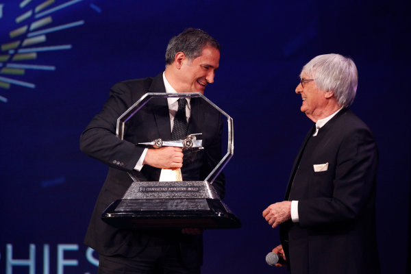2015 FIA Prize Giving Paris, France Friday 4th December 2015 Bernie Ecclestone and the FOM trophies, portrait  Photo: Copyright Free FOR EDITORIAL USE ONLY. Mandatory Credit: FIA / Jean Michel Le Meur  / DPPI ref: _GO_0127
