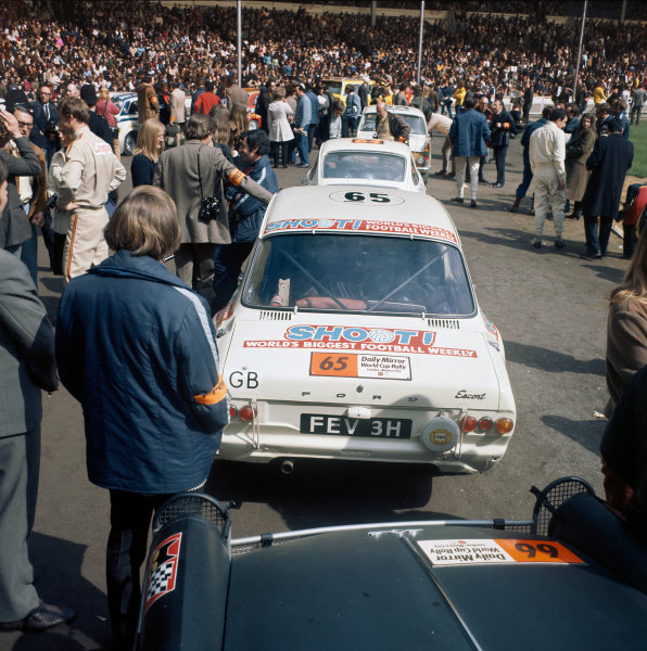 1970 World Cup Rally. London to Mexico. 19th April - 27th May 1970. Roger Clark / Alec Poole (Ford Escort), drive into Wembley Stadium at the start of the Rally, action.  World Copyright: LAT Photographic.