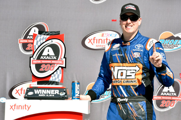 11-12 March, 2016, Avondale, Arizona USA Kyle Busch, NOS Energy Drink Toyota Camry celebrates his win in Victory Lane ? 2016, Nigel Kinrade LAT Photo USA