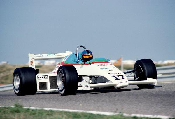 1983 Dutch Grand Prix.Zandvoort, Holland.26-28 August 1983.Kenneth Acheson (March Ram 01 Ford).Ref-83 HOL 40.World Copyright - LAT Photographic