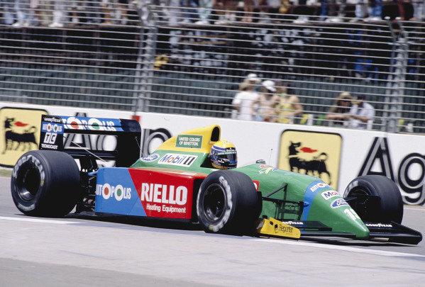 1990 Australian Grand Prix.Adelaide, Australia.2-4 November 1990.Roberto Moreno (Benetton B190 Ford) 7th position.Ref-90 AUS 38.World Copyright - LAT Photographic