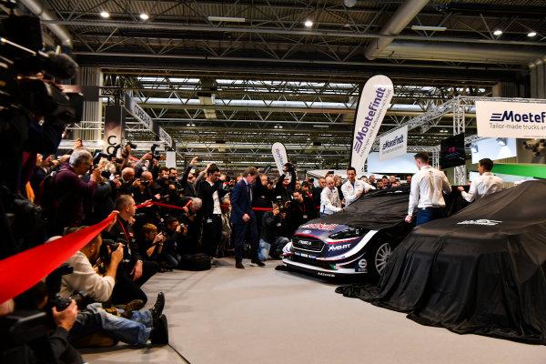 Autosport International Exhibition. National Exhibition Centre, Birmingham, UK. Thursday 11th January 2017. Malcolm Wilson, Sebastien Ogier and Elfyn Evans from M-Sport Ford gather at the WRC season launch.World Copyright: Mark Sutton/Sutton Images/LAT Images Ref: DSC_7215