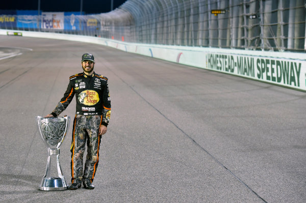 Monster Energy NASCAR Cup Series Ford EcoBoost 400 Homestead-Miami Speedway, Homestead, FL USA Monday 20 November 2017 Martin Truex Jr, Furniture Row Racing, Bass Pro Shops / Tracker Boats Toyota Camry celebrates winning the 2017 Monster Energy Cup Series Championship  World Copyright: Nigel Kinrade LAT Images