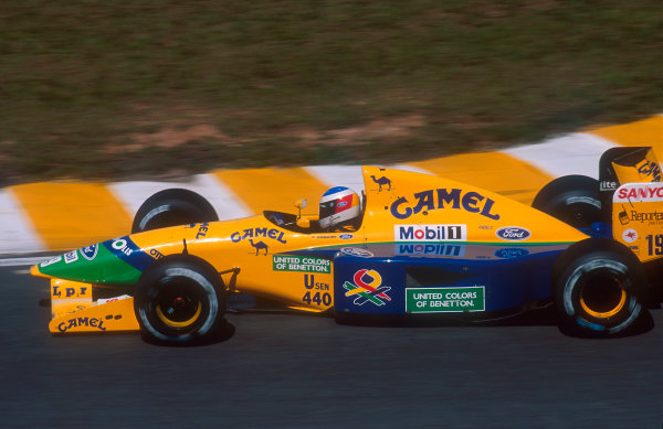 1992 Brazilian Grand Prix.Interlagos, Sao Paulo, Brazil.3-5 April 1992.Michael Schumacher (Benetton B191B Ford) 3rd position.Ref-92 BRA 15.World Copyright - LAT Photographic