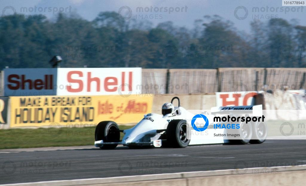 Alan Jones (AUS) in the six wheeled Williams FW07D. The car was tested but never raced. Formula One Testing, Donington Park, England, November 1982. Catalogue Ref.: 10-204 Sutton Motorsport Images Catalogue