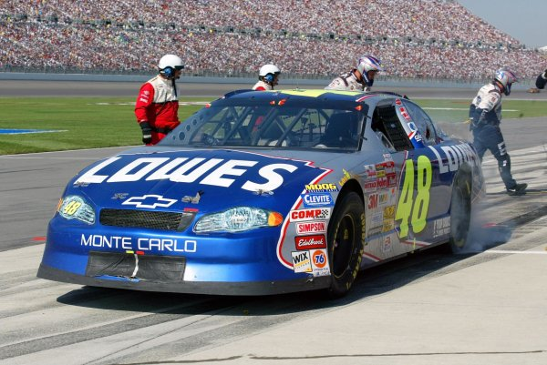 NASCAR Winston Cup Series Protection One 400, Kansas Motor Speedway, Kansas City, Kansas, USA 29 Sept. 2002 New points leader Jimmie Johnson burns rubber after a pitstop.Copyright-Steve Rose 2002 LAT PHOTOGRAPHIC