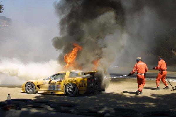 2002 ALMS Laguna SecaMonterey, California USA September 19 - 22, 2002Corvette of O'Connell on fire in the corkscrew.World Copyright, Juha Lievonen/LAT Imageref: Digital Image Only