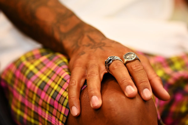 Hand of Lewis Hamilton, Mercedes-AMG Petronas F1 in the press conference