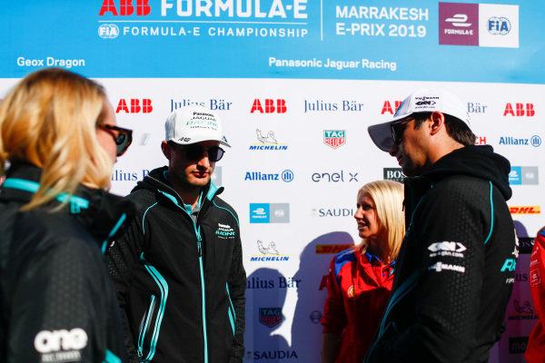 Mitch Evans (NZL), Panasonic Jaguar Racing, and Nelson Piquet Jr. (BRA), Panasonic Jaguar Racing, in the media pen