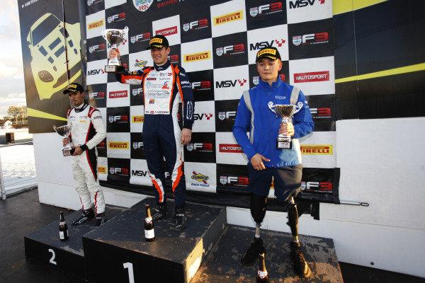 Race 3 Podium (l-r) Krishnaraaj Mahadik (IND) Double R BRDC British F3, Nicolai Kjaergaard (DEN) Carlin BRDC British F3, Billy Monger (GBR) Carlin BRDC British F3