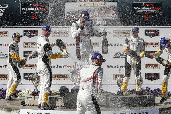 #3 Corvette Racing Corvette C7.R, GTLM: Jan Magnussen, Antonio Garcia, #912 Porsche GT Team Porsche 911 RSR, GTLM: Earl Bamber, Laurens Vanthoor, #4 Corvette Racing Corvette C7.R, GTLM: Oliver Gavin, Tommy Milner, podium , champagne