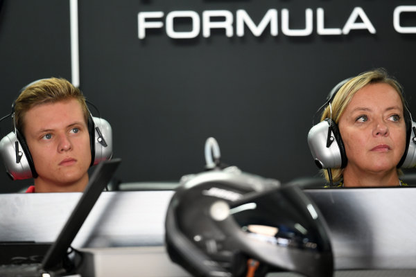 Mick Schumacher (GER) and Sabine Kehm (GER) at Formula One World Championship, Rd12, German Grand Prix, Practice, Hockenheim, Germany, Friday 29 July 2016. BEST IMAGE
